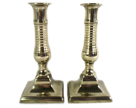Pair of English Antique Brass Beehive Candlesticks