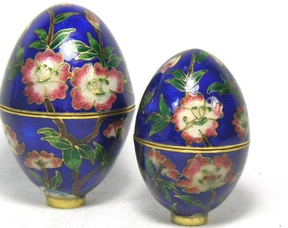 Vintage Blue Cloisonne Egg Trinket Boxes with Floral Design