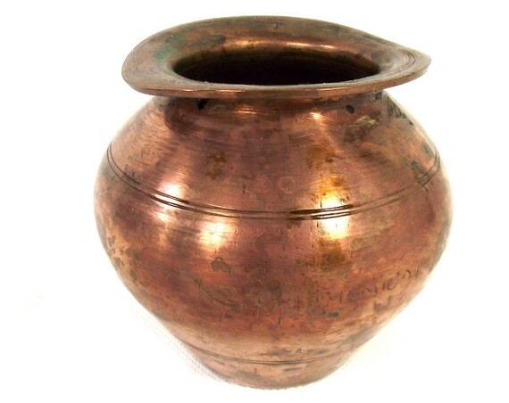 Vintage Indian Copper Lota Vase