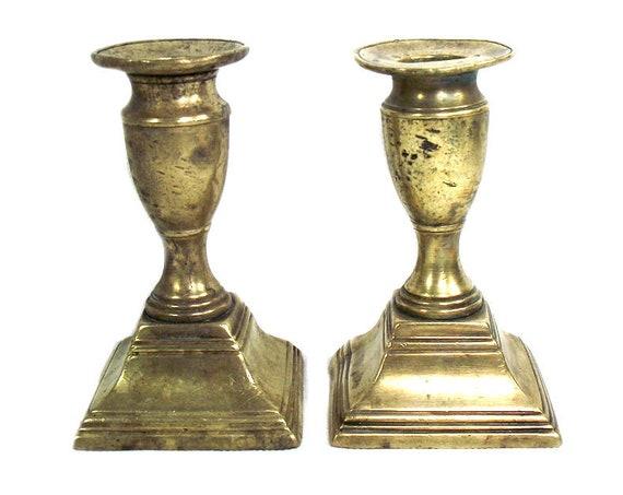 Pair of Antique Georgian Brass Candlesticks