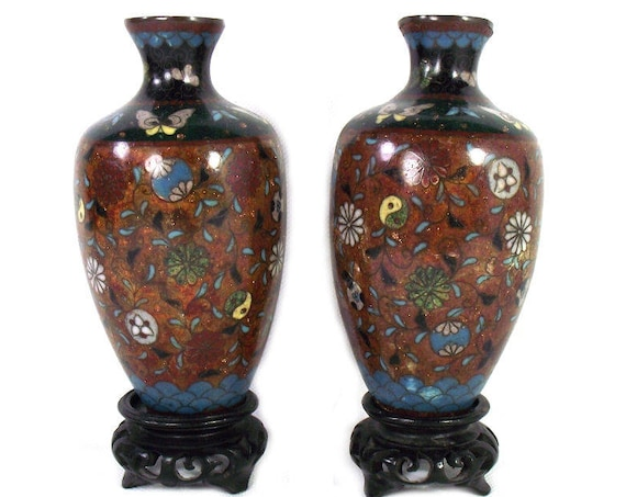 Pair of Antique Japanese Cloisonne Vases from the Meiji Period