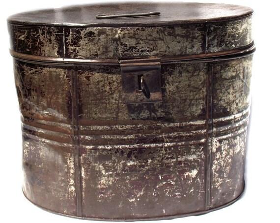 "12"" Tall Antique Tin Hat Box"