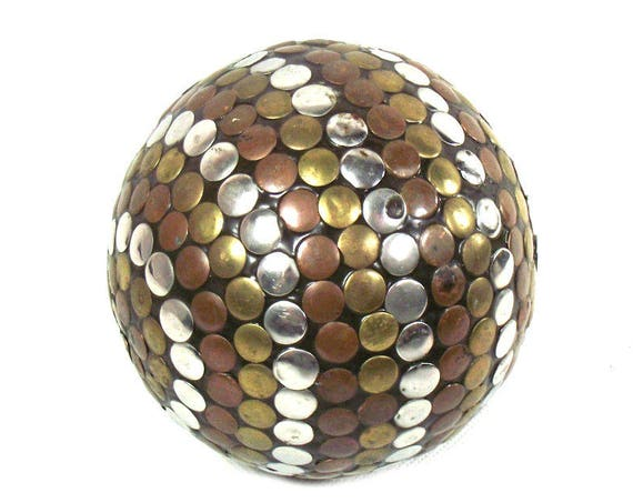 Vintage Studded Decorative Sphere in Brass, Copper and Chrome