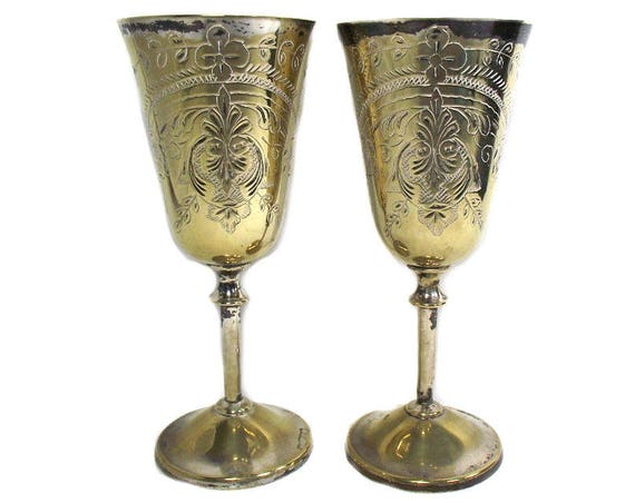 A Pair of Tall Vintage Silver Plated Goblets