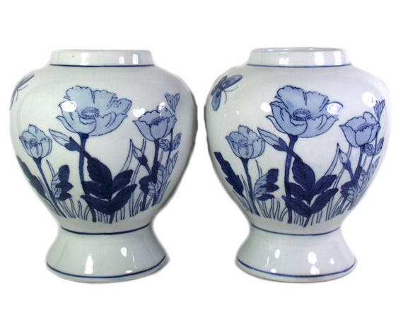 Vintage Pair of Hand Painted Chinese Blue and White Vases