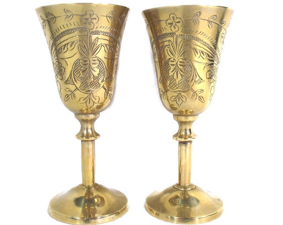 Pair of Vintage Indian Brass Wine Goblets