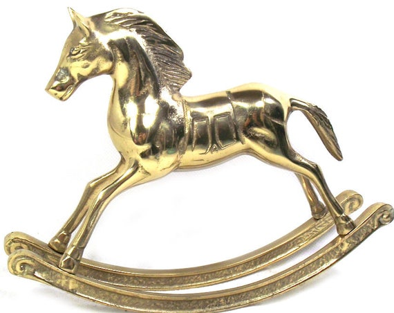 "Vintage 6"" Tall Brass Horse Rocking Horse"