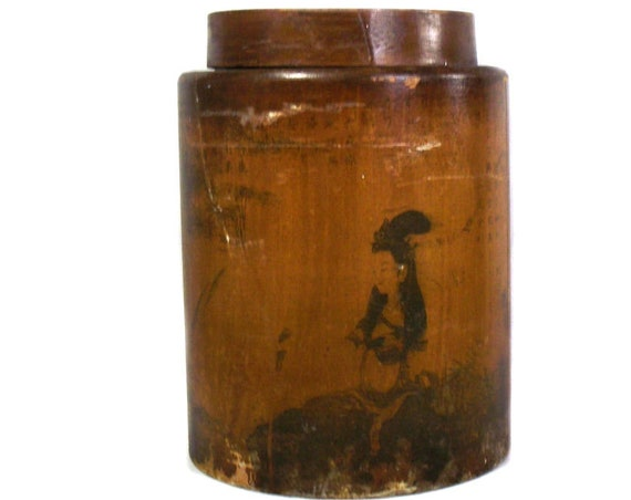 Large Chinese Ochre Brown Caddy
