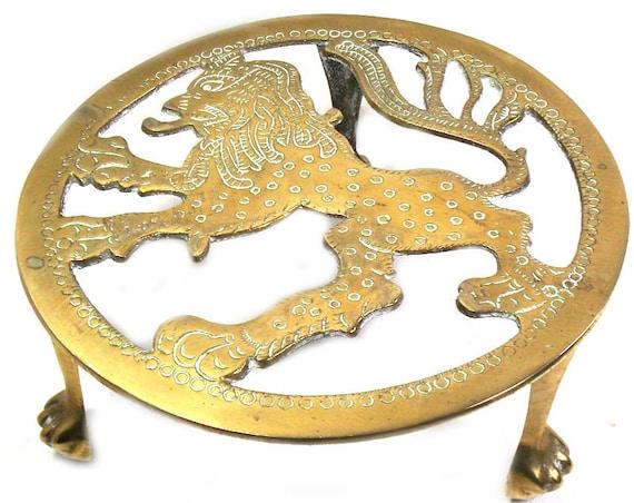 Brass Rampant Lion Trivet