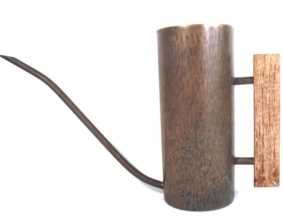 Modernist Copper and Wood Watering Can