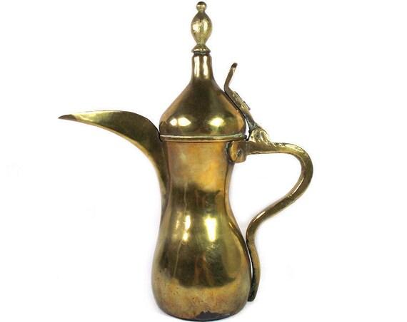 "10"" Tall Vintage Brass Dallah"