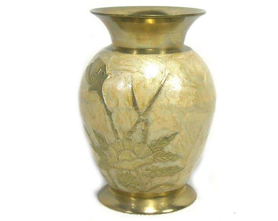 Vintage Enamelled Brass Vase