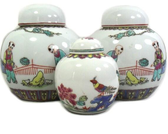 Set of 3 Vintage Chinese Ginger Jars