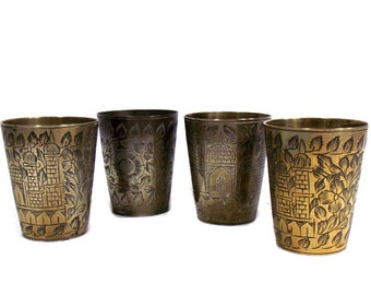 Set of 4 Small Indian Brass Lassi Cups, Vintage Indian Brass Beakers, Etched Brass Cups, Old Engraved Brass, Little Beakers, Bohemian Decor