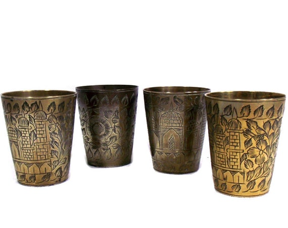 Set of 4 Small Indian Brass Lassi Cups