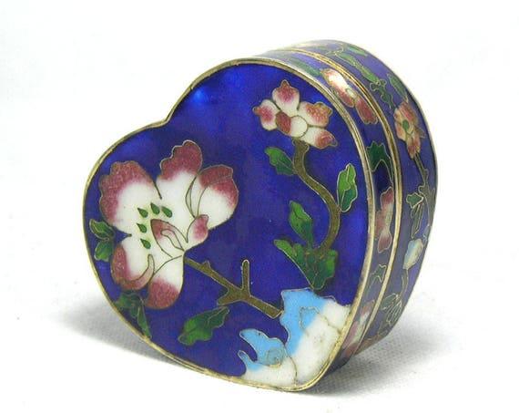Vintage Blue Cloisonne Heart Shaped Trinket Box with Floral Design