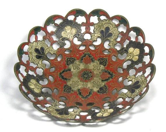 Vintage Indian Enamelled Brass Bowl