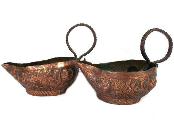 Pair of Antique Kashmiri Copper Candle Holders
