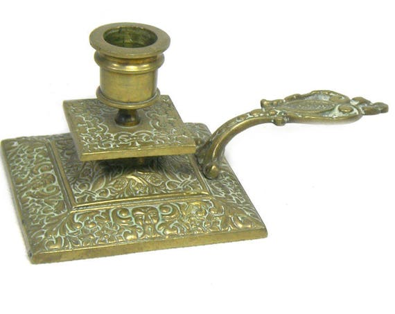 Antique French Brass Candlestick Holder