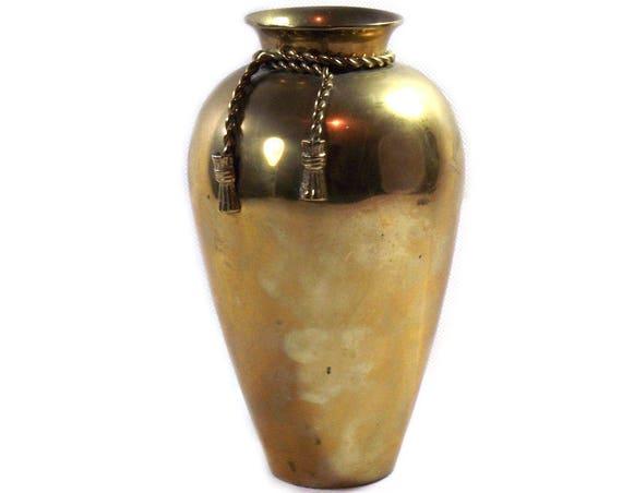 Vintage Brass Vase with Rope