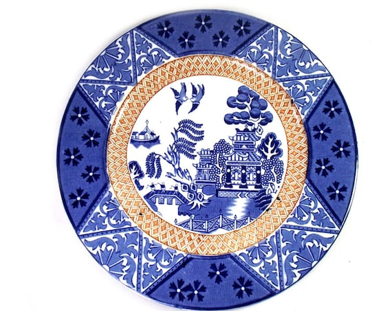 Vintage Blue and White Chinoiserie Plate by Alfred Meakin