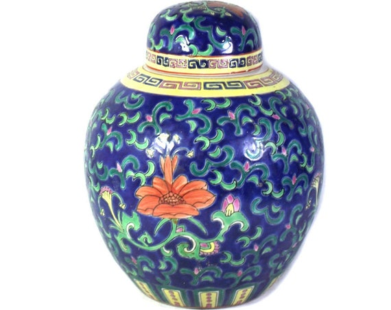 """10"""" Tall Chinese Lidded Ginger Jar"""