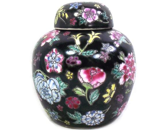 Vintage Chinese Black & Pink Ginger Jar