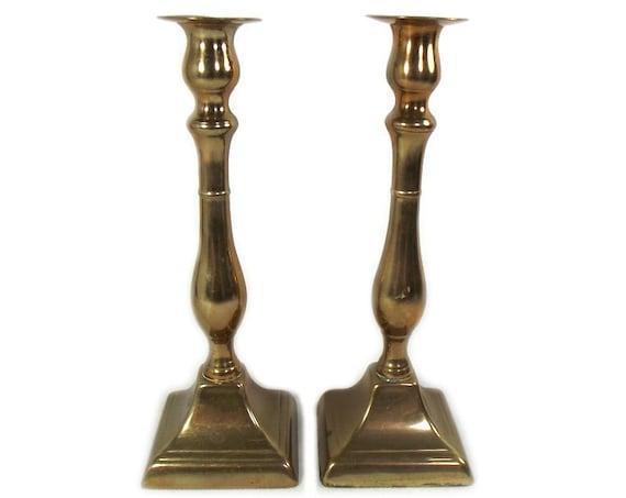 Pair of English Antique Brass Candlesticks