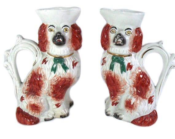 Pair of Antique Staffordshire Wally Dog Pitchers