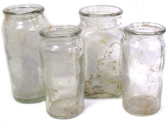 """5"""" Tall Vintage Set of 4 Clear Glass Jars"""