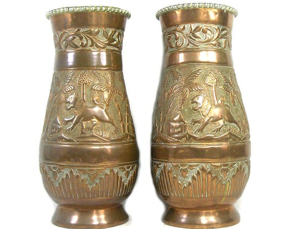 Vintage Pair of Middle Eastern Copper Vases with Silver Trim