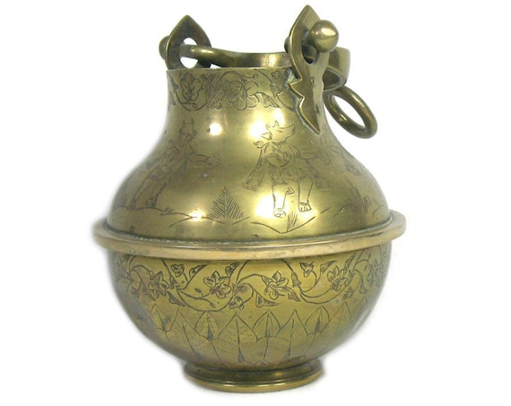 Vintage Indian Brass Hanging Vase from the School of Art Jeypore
