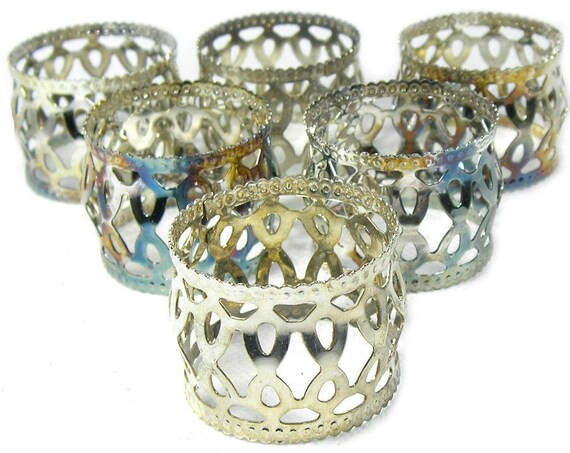 Set of 6 Vintage Silver Plated Napkin Rings