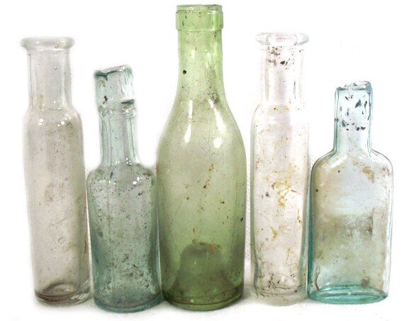 """4.5"""" Antique Set of 5 Small Glass Bottles"""