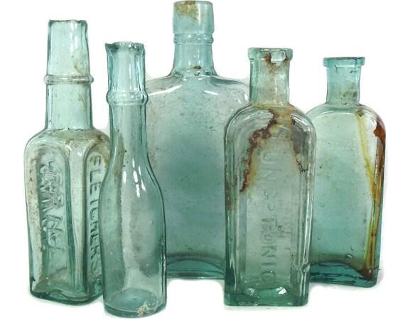 "6"" Tall Antique & Vintage Set of 5 Aqua Glass Bottles"