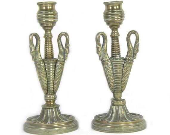 Antique Brass Swan Candlesticks