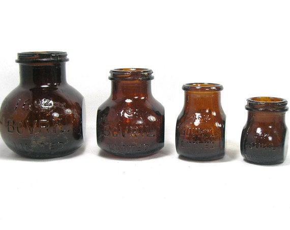 "4.25"" Tall Set of 4 Antique Amber Glass Bovril Jars"