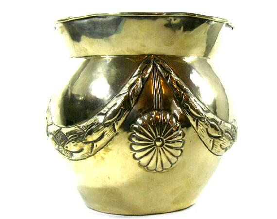 Antique Brass Art Nouveau Planter