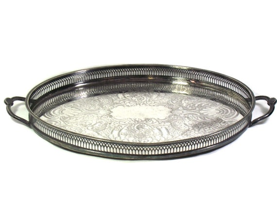 """22"""" Oval Vintage Silver Plated Tray by Cavalier"""