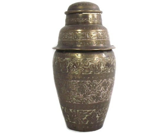 1930's Indian Etched Brass Cocktail Shaker