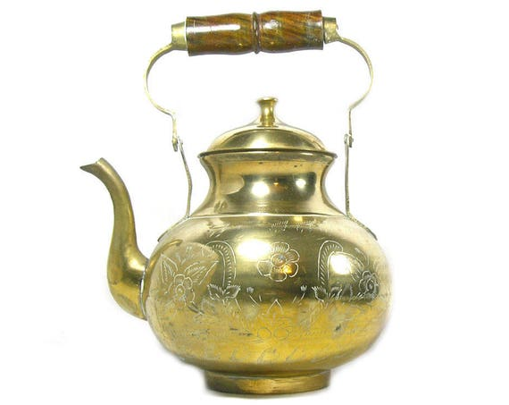 Large Vintage Brass Teapot with Wooden Handle