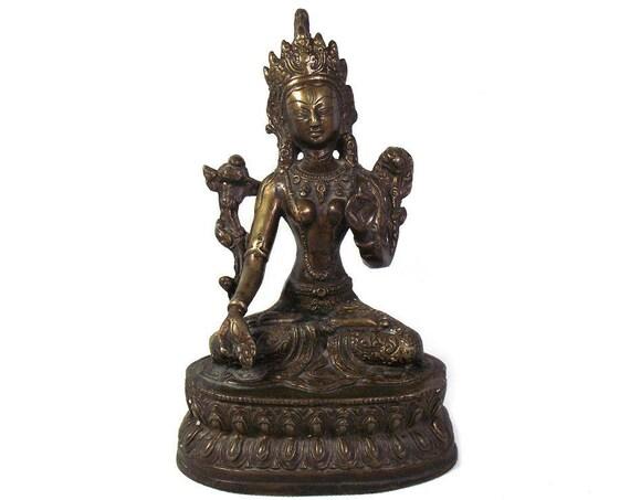 Vintage Cast Bronze Tara Sculpture