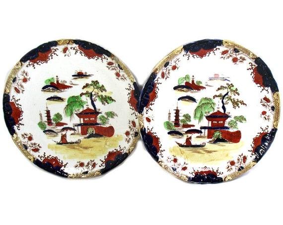 Pair of Cetem (Maling) Imari Plates