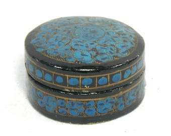 Vintage Kashmiri Papier Mache Trinket Box, Indian Paper Mache Box, Gold and Blue Trinket Box, Blue Bohemian Decor, Boho Chic, Indian Decor
