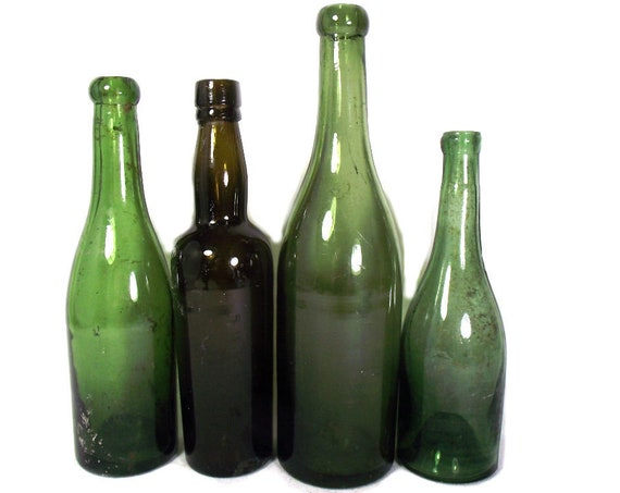 """9.5"""" Antique Set of Small Green Glass Wine or Mineral Bottles"""