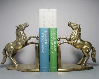 Brass Horse Bookends/Brass Horses/Brass Bookends/Animal Bookends/Horse Figurine/Brass Animal/Hollywood Regency/Brass Decor/Horse Gift