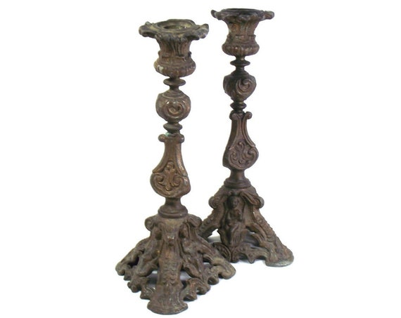 Tall Antique French Altar Candlesticks