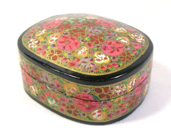 Vintage Floral Pink Kashmiri Paper Mache Trinket Box