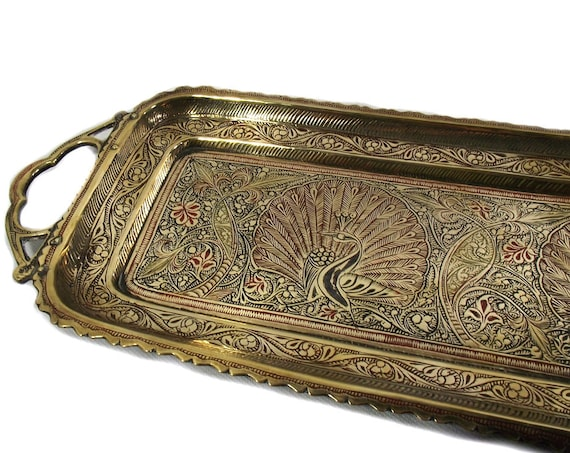 """23"""" Vintage Indian Brass Peacock Tray"""