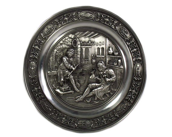 Vintage German Pewter Plate Depicting The Silversmith